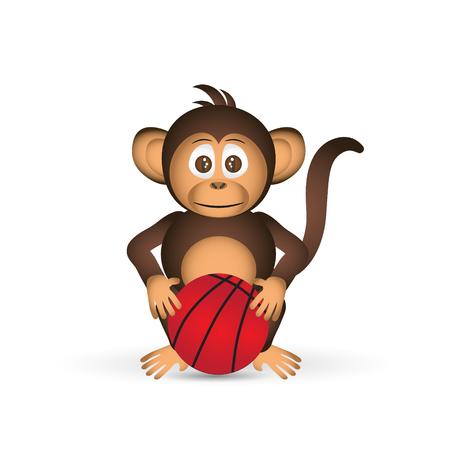 bussines: cute chimpanzee with basketball ball sport little monkey Illustration