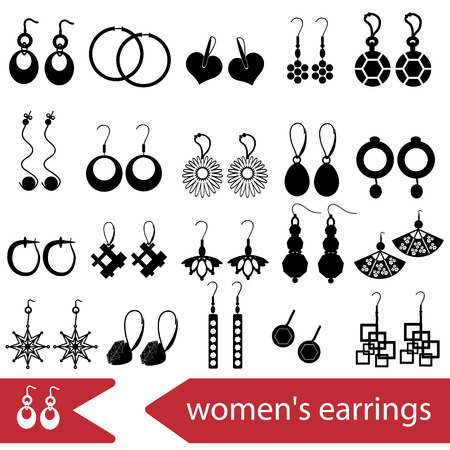 earrings: various ladies earrings types set of icons Illustration