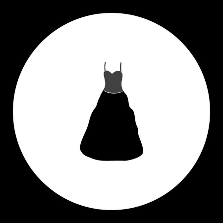 skirt suit: simple ladies evening dress isolated black icon Illustration
