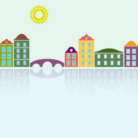 reflecting: simple colorful houses reflecting in the water Illustration