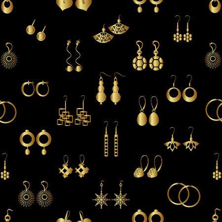 various gold ladies earrings types seamless pattern