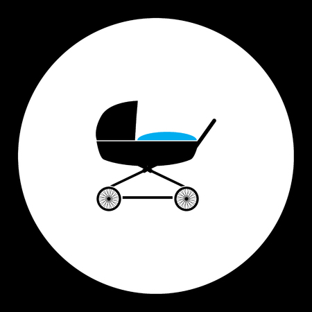 sway: simple black stroller for baby cradle icon
