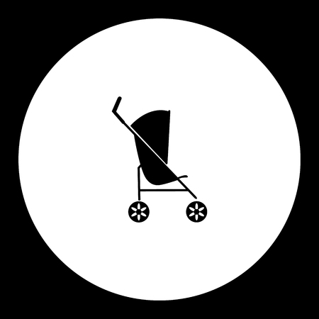 sway: simple black sport stroller for baby cradle icon