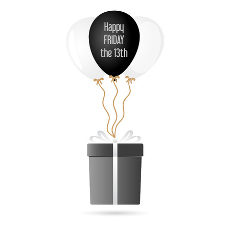 one big gray gift package soaring with helium balloons with friday 13 text Illustration