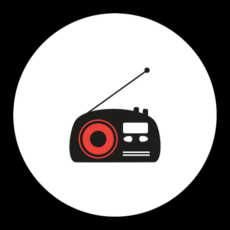 old radio: old radio simple isolated black and red icon