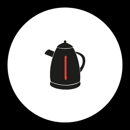 electric kettle simple isolated black and red icon eps10