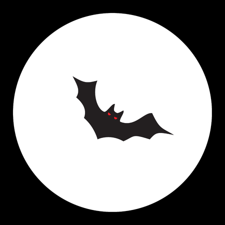 eyes cave: black bat with red eyes simple isolated black icon