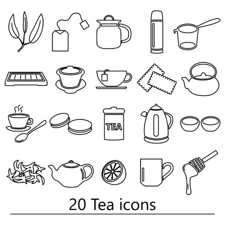 tea theme black simple outline icons set