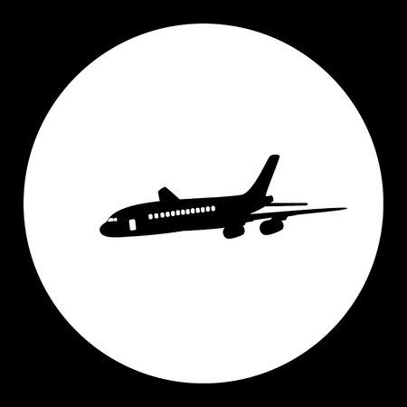 airliner passanger aircraft simple black isolated icon