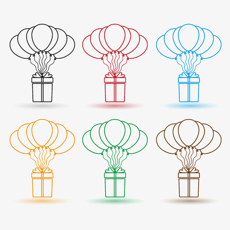 helium: gift package soaring with helium balloons outline icons set