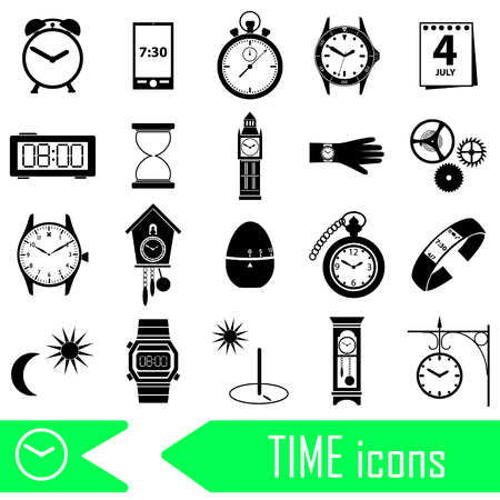 time theme modern simple icons set Banco de Imagens - 59212225