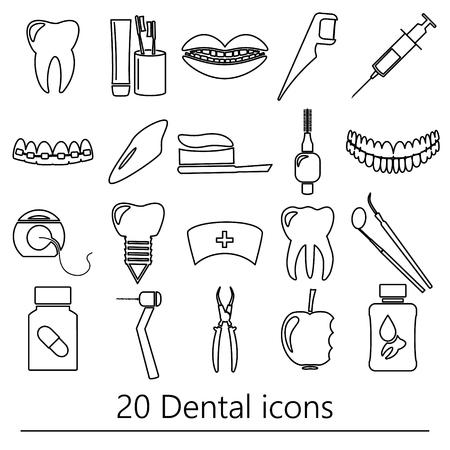 tartar: set of dental theme black outline icons