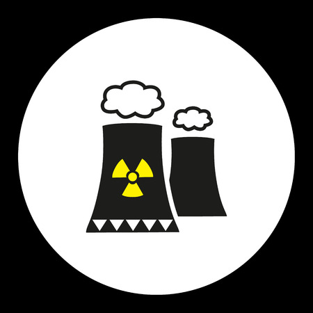 uranium: nuclear power plant with chimney isolated black icon