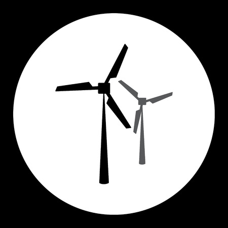 wind power: two black wind power plant isolated black icon