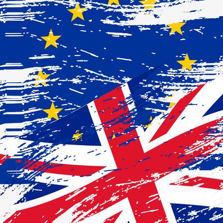 britan: color european union and united kingdom flags grunge style Illustration