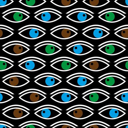 te negro: varios ojos de color que le mira patrón transparente negro Vectores