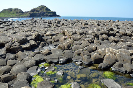 causeway: Giant Causeway view landscape with ocean and cliffs in Ireland