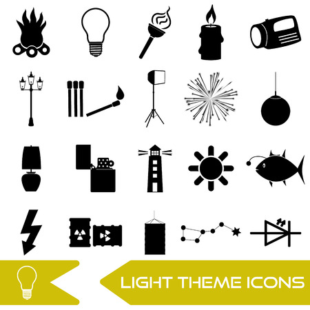 source: light theme modern simple black icons light source Illustration
