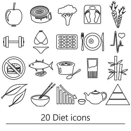 life style: set of diet and healthy life style theme black outline icons