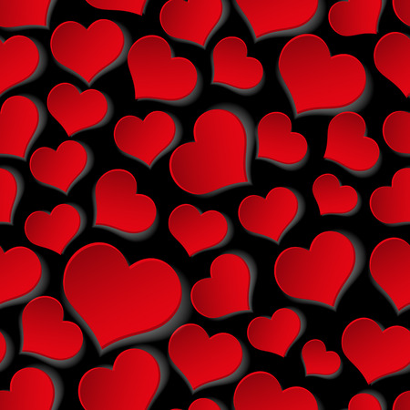 paper heart: red valentine hearths symbol seamless dark pattern