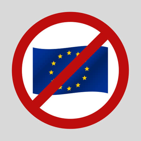 color european union flag in the we dont want it sign 版權商用圖片 - 151430255