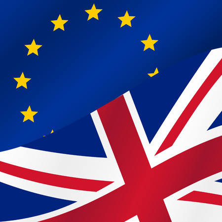 britan: color european union and united kingdom flags half