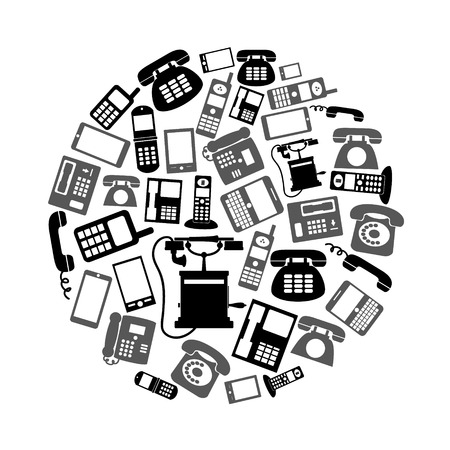 cabina telefonica: various black phone symbols and icons set in circle eps10 Vectores
