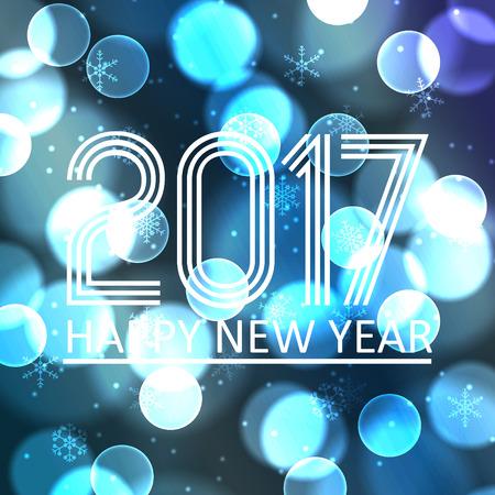 pf: happy new year 2017 on blue bokeh circle background eps10 Illustration