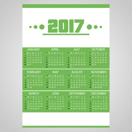 january 1: 2017 simple business wall calendar green and white eps10