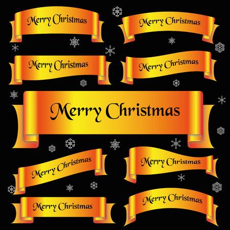 slogan: amarillo brillante de color Feliz Navidad lema banderas de la cinta curvada eps10