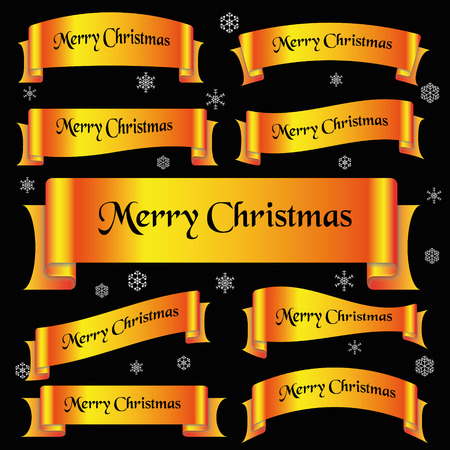 curved ribbon: yellow shiny color merry christmas slogan curved ribbon banners eps10 Illustration