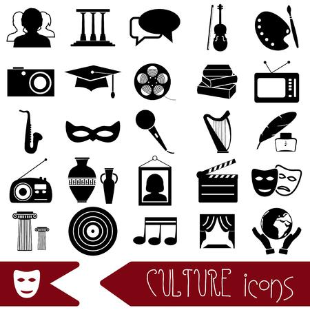 cultuur en kunst thema zwarte eenvoudige pictogrammen set eps10 Stock Illustratie