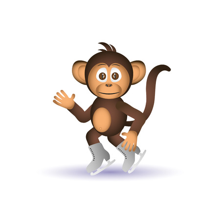 little skate: cute chimpanzee ice skate winter sport little monkey  eps10 Illustration