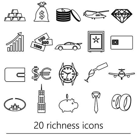 la richesse et le thème de l'argent contour noir icons set eps10