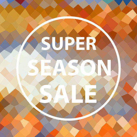 colorful multicolor low polygonal pattern with super season sale text in white circle eps10 Illustration