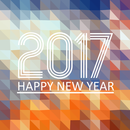 happy new years: happy new year 2017 on multicolor low polygon triangle gradient graphic background eps10