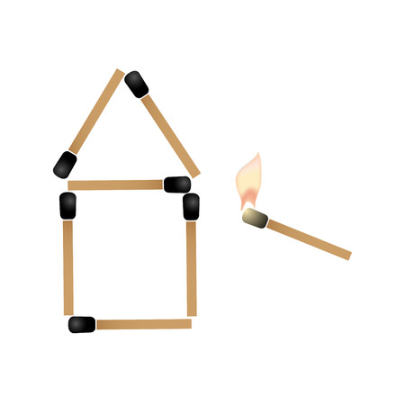ignite: simple house made of matches and burning match trying ignite roof eps10 Illustration