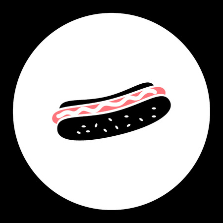 bun: hot dog sausage and bun food isolated black icon eps10 Illustration