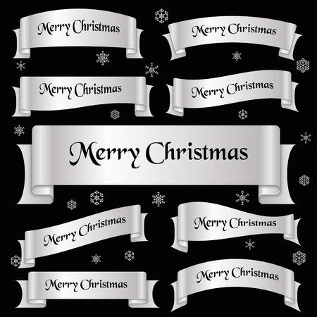 slogan: brillante de color plata Feliz Navidad lema banderas de la cinta curvada eps10