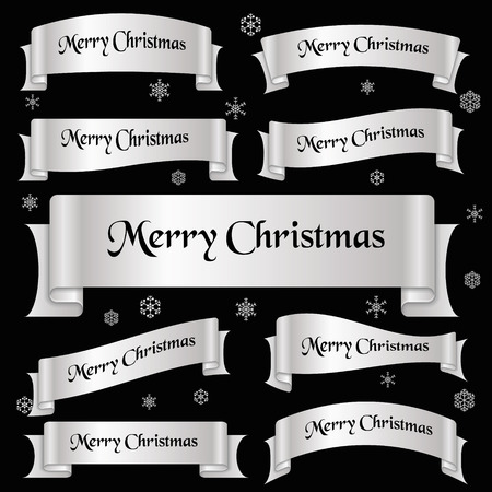 curved ribbon: silver shiny color merry christmas slogan curved ribbon banners eps10