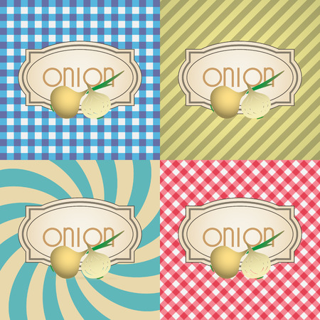 marmalade: four types of retro textured labels for onion eps10