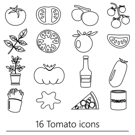 frites: tomatoes theme black simple outline icons set eps10