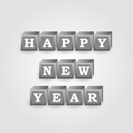 pf: happy new year message from gray bricks with numbers eps10 Illustration