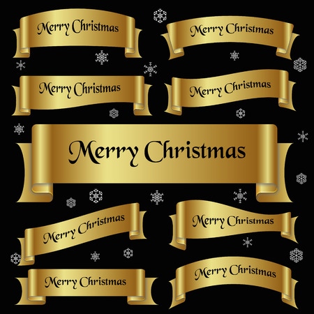 curved ribbon: all gold merry christmas slogan curved ribbon banners eps10