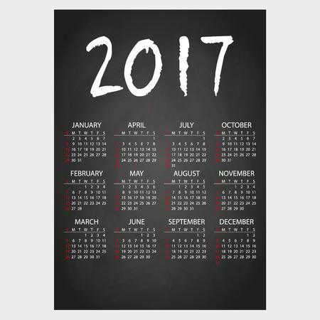 2017 calendario de pared en negro pizarra con tiza blanca eps10 texto Ilustración de vector