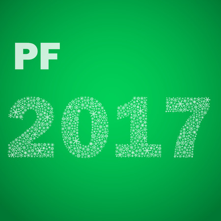 pf: green happy new year pf 2017 from little snowflakes eps10 Illustration