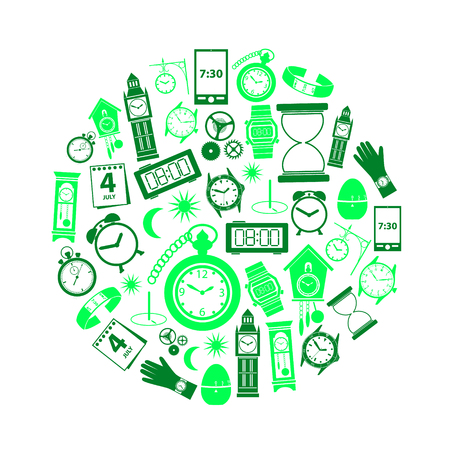 time theme modern simple green icons in circle eps10 Illustration