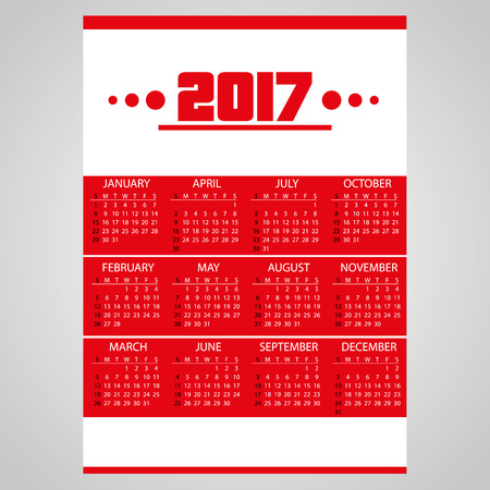 0 6 months: 2017 simple business red wall calendar with white eps10