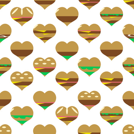 bacon love: colorful hearts hamburgers styles simple icons seamless pattern eps10 Illustration