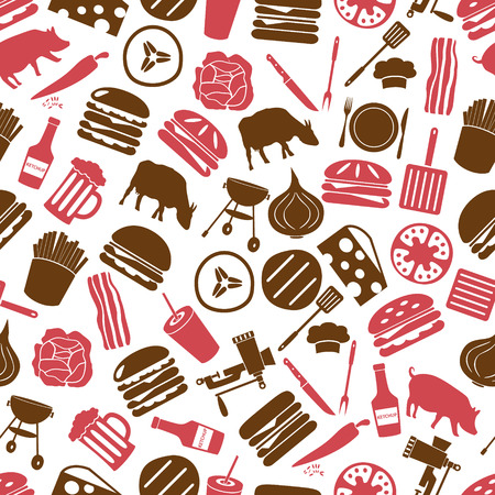 meat  grinder: hamburger theme modern simple icons seamless color pattern eps10 Illustration
